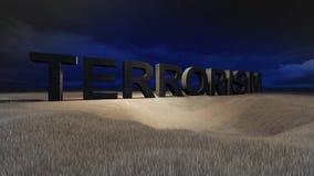 Terrorism. 3d terrorism word in field by night Stock Photo