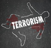 Terrorism Dead Body Chalk Outline Murder Killed Casualty Victim Royalty Free Stock Image