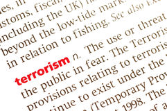 Terrorism. Dictionary definition of terrorism, close up view Stock Image
