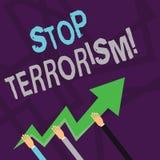 Terrorism f?r stopp f?r textteckenvisning Begreppsmässigt foto som löser de utstående frågorna släkta händer för våld tre stock illustrationer