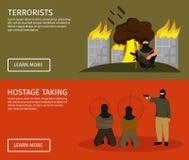 Terrorism Flat Banner Set Stock Photos