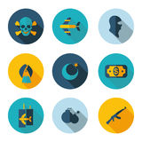 Terrorism flat icons Royalty Free Stock Images