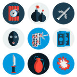 Terrorism flat vector icons Stock Photos