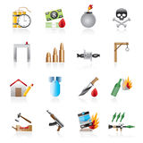 Terrorism and gangster equipment icons Stock Photography