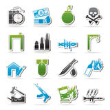 Terrorism and gangster equipment icons Stock Photo