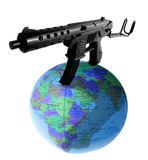 Terrorism global. Global terrorism or world wide domination. machine gun on top of globe or earth Royalty Free Stock Images