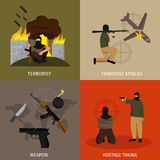 Terrorism Icon Flat Set Royalty Free Stock Images