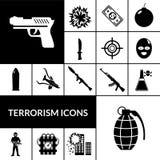 Terrorism Icons Black Royalty Free Stock Photos