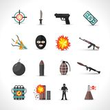 Terrorism Icons Set Stock Photos