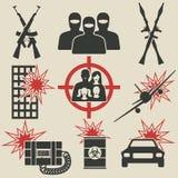 Terrorism icons set Stock Images