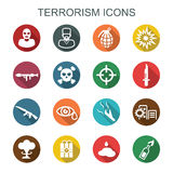 Terrorism long shadow icons Stock Image