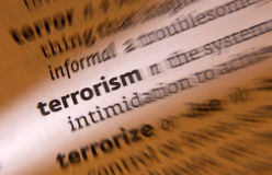 Terrorism - Terrorist. Terrorism is the systematic use of terror, especially as a means of coercion. Terrorism intended to create fear (terror), is perpetrated Stock Images