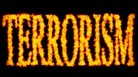 Terrorism text word concept burning on black background. In background royalty free illustration