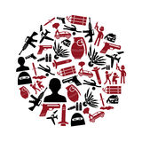 Terrorism theme set of simple icon in circle Royalty Free Stock Images