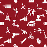 Terrorism theme set of simple icon red seamless pattern eps10 Stock Photography