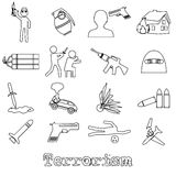 Terrorism theme set of simple outline icon Stock Photography