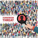 Terrorism threat illustration. Conceptual vector illustration at terrorism threat with crowd of people Royalty Free Stock Photo