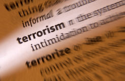 Terrorism. The use of violence and intimidation in the pursuit of political aims Stock Photography