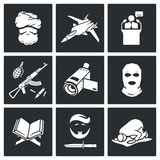 Terrorism Vector Icons Set Stock Photos