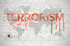 Terrorism in the world. Stylized lettering with blood on the background of the world map Royalty Free Stock Image