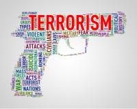 Terrorisme d'étiquette de wordcloud de forme de pistolet Photos libres de droits