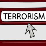 Terrorismo - concepto de las noticias de Internet Navegador con una flecha Gráficos de vector Peligros en Internet stock de ilustración