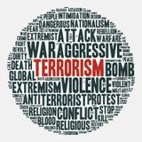 terrorismo Nuvola delle parole in un cerchio Illustrazione di vettore Fotografia Stock Libera da Diritti