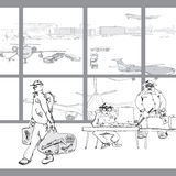 Terrorist In Airport Arkivfoton