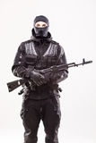 Terrorist with ak47 machine gun isolated Royalty Free Stock Image