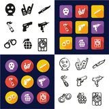 Terrorist All i en symboler uppsättning för design för svart- & vitfärglägenhet Freehand Arkivbild