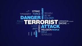 Terrorist attack danger military terrorism war weapon animation bomb army terror animated word cloud background in uhd. 4k 3840 2160 stock illustration