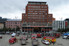 Terrorist attack in Oslo, Norway. Youngstorget in Oslo, Norway square after terror bomb attack. The Labour Party (Arbeiderpartiet) office building in background Royalty Free Stock Photos