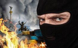 Terrorist auf Ukrainer Maidan stockbilder