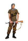 Terrorist with automatic gun and launcher on white background Stock Image