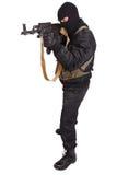 Terrorist in black uniform and mask with kalashnikov Royalty Free Stock Photos