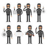 Terrorist in different poses Royalty Free Stock Photography