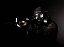 Terrorist with gas mask Royalty Free Stock Photography