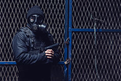 The terrorist with gas Royalty Free Stock Photography
