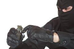 Terrorist with granade Royalty Free Stock Photo