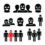 Terrorist group, dangerous people in balaclava icons set Royalty Free Stock Image