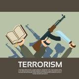 Terrorist Group Hands Holding schießt Terrorismus Stockbild
