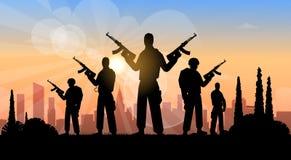 Terrorist-Group Over City-Ansicht-Fahne Stockfotografie