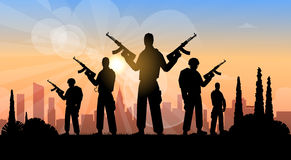 Terrorist Group Over City View Banner Stock Photography