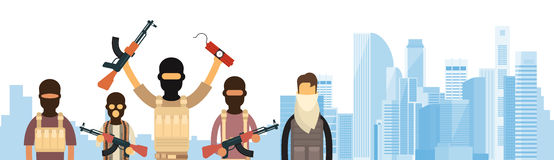Terrorist Group Over City View Banner Royalty Free Stock Images