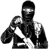 Terrorist i svart Royaltyfri Foto