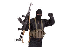Terrorist with kalashnikov isolated Royalty Free Stock Image