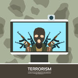 Terrorist Leader On Tv Screen Streaming Television Royalty Free Stock Photography