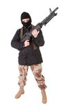 Terrorist with m60 machine gun. Isolated on white Royalty Free Stock Photos