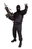 Terrorist with machine gun Royalty Free Stock Photos