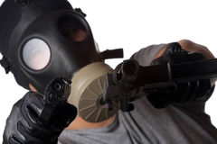 Terrorist Man Pointing Guns Stock Photography